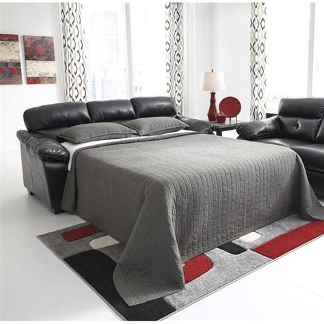 full size leather sleeper sofa ashley bastrop leather full size sleeper sofa in midnight