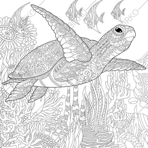 coloring pages  adults ocean world turtle underwater