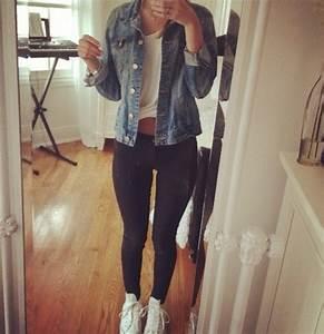 Tank top white white tee t-shirt denim jacket denim jacket black leggings jeans converse ...