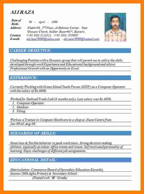 Best Cv Format Word Document by 5 Cv Formats 2015 Word Theorynpractice