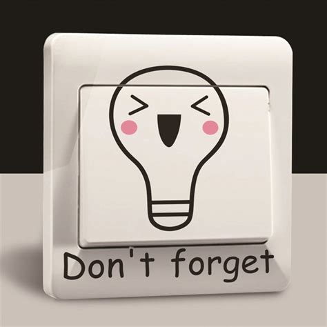 cartoon don t forget turn off the light wall sticker