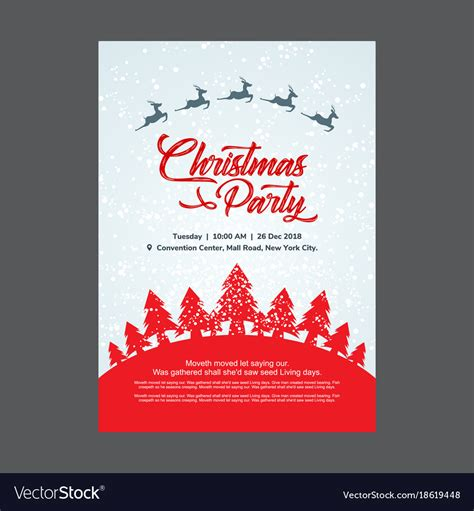 Christmas party invitation card with red trees Vector Image