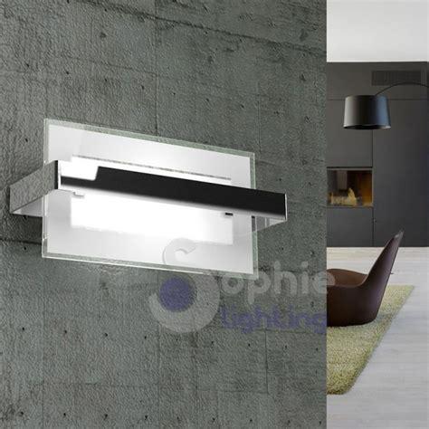 applique moderna applique moderno rettangolare acciaio cromato vetro
