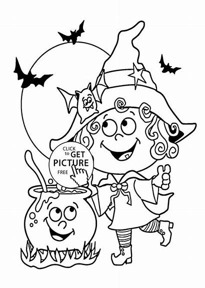 Coloring Witch Printable Witches Halloween Funny Template