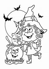 Coloring Witch Halloween Funny Little Printable Pages 4kids Kerra sketch template