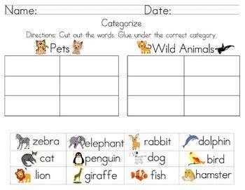 categorize classify worksheets including cut  paste