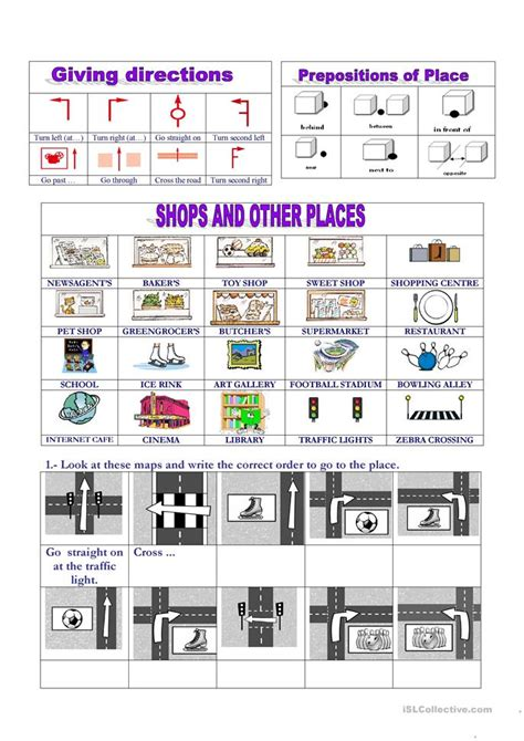 places giving directions worksheet  esl printable