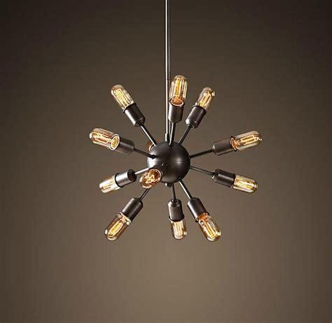 vintage rh restoration sputnik filament chandelier aged