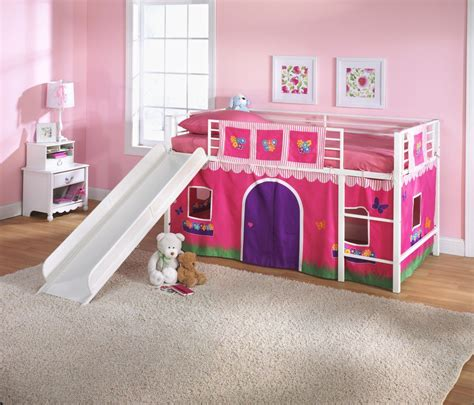 Pink And White Loft Bed For Toddler Girls With Slide Tent
