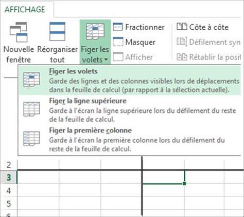 Figer des lignes et des colonnes Excel