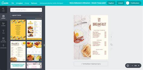 membuat desain menu makanan american breakfast unik canva