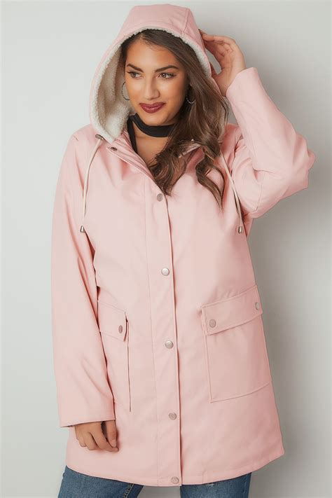 Limited Collection Pink Coated Mac With Sherpa Lined Hood