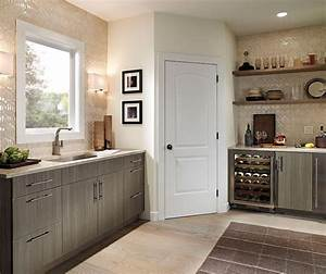 Dining Room Cabinets in Light Grey Finish - Kitchen Craft