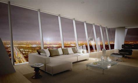 canapé designer a l 39 intérieur d 39 un appartement avec vue panoramique sur