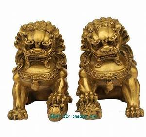 Large Pair Bronze Chinese Lion Foo Dog Statue Figure ...