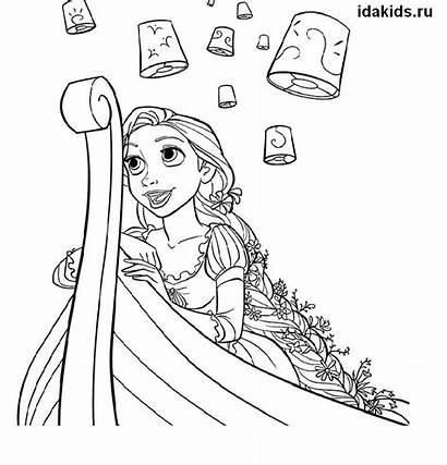 Rapunzel Coloring Boat Pages Princess Holding
