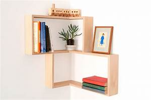 Corner shelf display cabinet book vintage mid century unit for Out of the box corner wall shelves