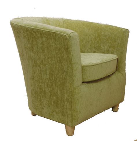 chenille fabric tub chair olive green