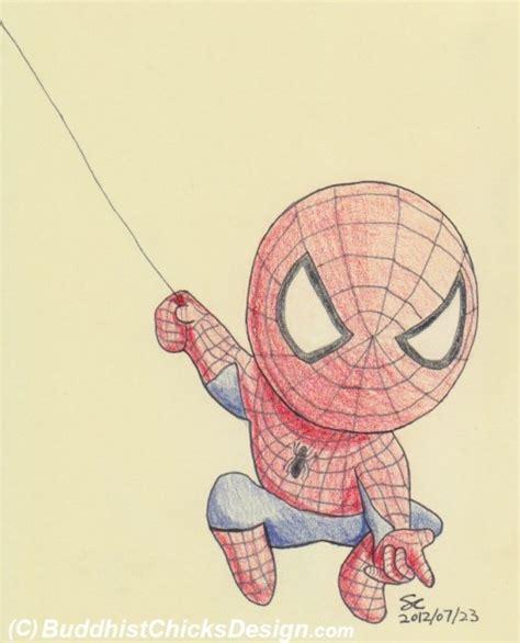 chibi spiderman drawing coloured pencils httpwww