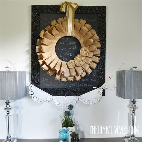 Hometalk   Frugal Fall Wreath From Recycled Paper & Fabric