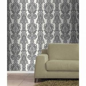 Fine Decor Rochester Damask Textured Glitter Wallpaper ...