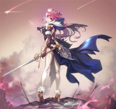 wallpaper anime girl princess cape sword battlefield
