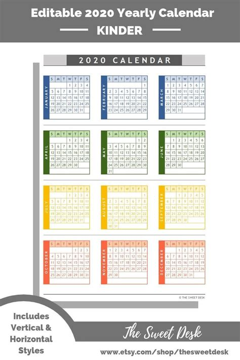 editable  excel yearly calendar template printable