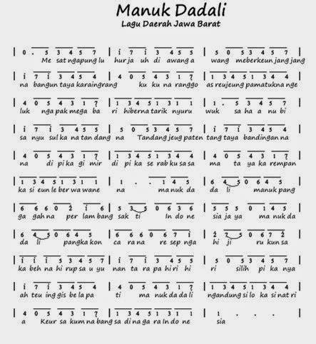 not angka tokecang lagu daerah manuk dadali lirik lagu dan not angka ayo
