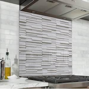 Mur Effet Brique : fond de hotte effet brique blanche verre alu credence cuisine deco ~ Melissatoandfro.com Idées de Décoration