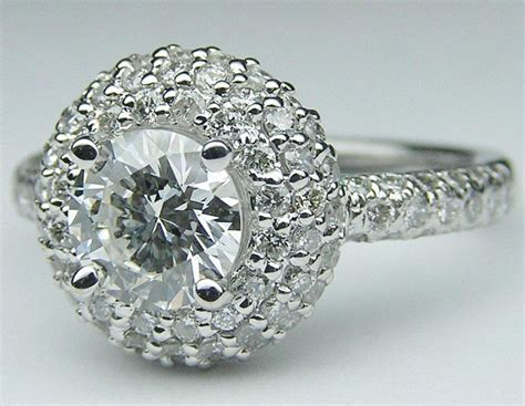 engagement ring double halo pave  mdc diamonds vintage