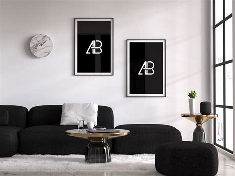 Poster mockup with vertical frames on empty dark green wall in living room interior with dark green velvet armchair.3d rendering. Living room with Poster Frames Mockup | Mockup World