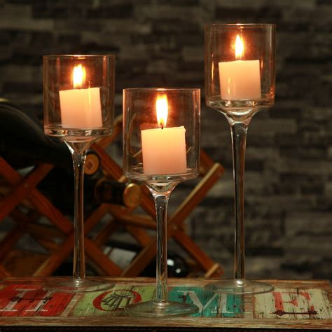 Decorating Ideas Glass Candle Holders by 3pcs Set Candle Holder Glass Candles Candleholder