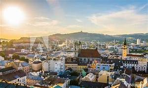 Aerial View Of The Austrian City Linz Including The Old Cathedral  Schlossmusem And The