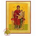 Icon Panagia Byzantine Nioras Enthroned Wooden Orthodox