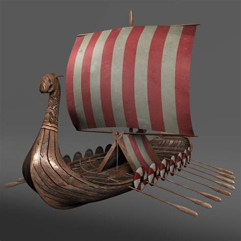 Viking Longboat Model ship viking longship 3d obj