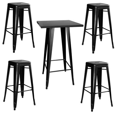 cosco 5 piece folding table and chair set in black