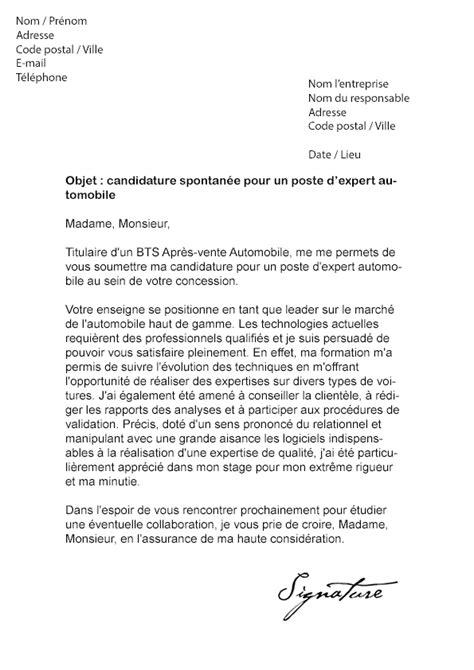 lettre de motivation expert automobile modele de lettre