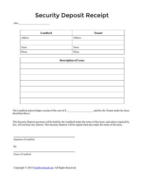 security deposit receipt template  rtf
