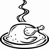 Chicken Clipart Roasted Transparent Drawing Cooked Clip Cook sketch template