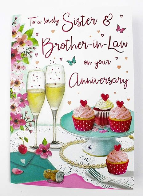 anniversary sister brother  law card champagne