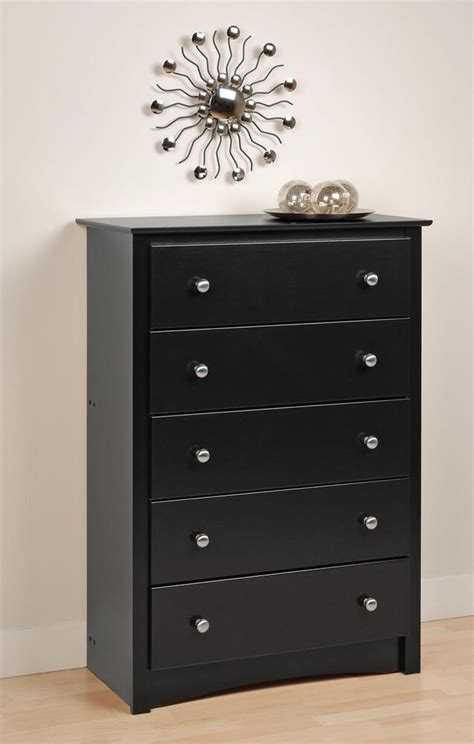 Dresser Chest by Bedroom Sonoma 5 Drawer Dresser Chest Black New Ebay