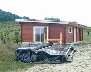 Chalet Bois Toit Plat : photos de chantier de maison en bois en kit ~ Melissatoandfro.com Idées de Décoration