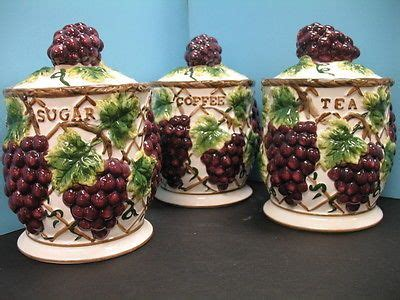 Wine Kitchen Canisters by 3 Pcs 3d Grape Canister Set Kitchen Decor Vineyard Wine