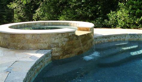 travertine pool patio granite coping masonry picture
