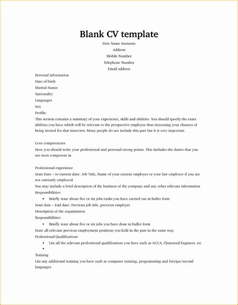 Blank Cv Template by 5 Curriculum Vitae Blank Form Free Sles Exles