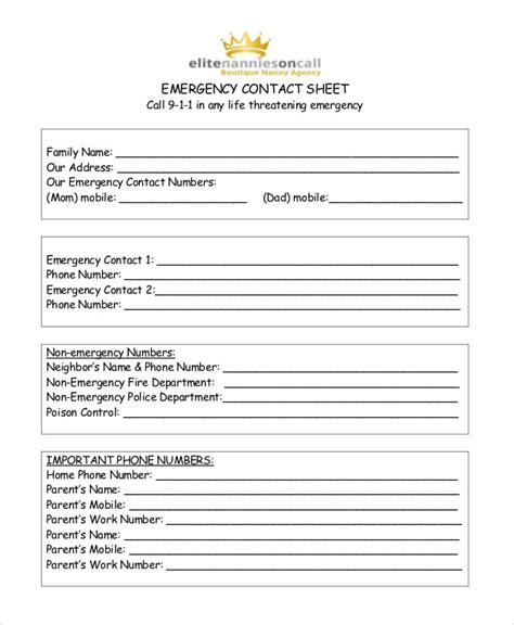 contact list template   word  documents