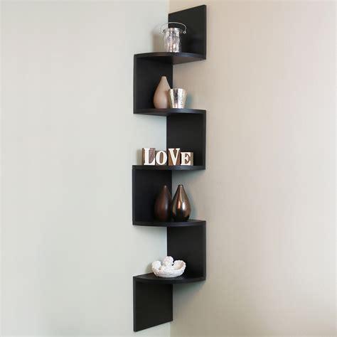 stylish ebay living room furniture 5 tier black wall mounted zigzag corner floating shelf
