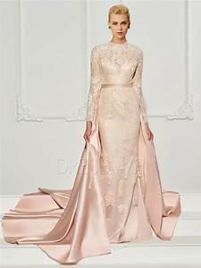 sheath scoop neck applique lace evening dress with watteau With robe de soirée jeune fille