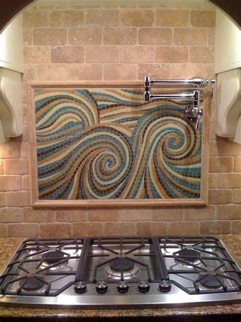 Kitchen Backsplash Centerpiece by Glass Tile Custom Mosaic Centerpiece Installed In A