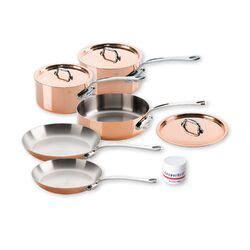mauviel mheritage copper  piece cookware set reviews wayfair